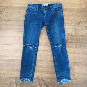 Free People Cropped Rip Jeans